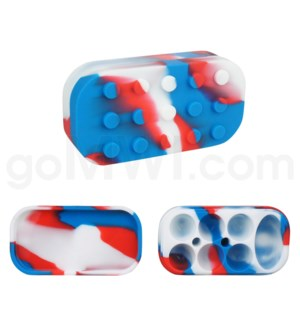"""4""""  Silicone Lego Style Container Red Blue White Swirls"""