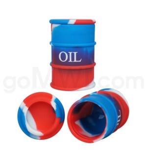 "1.5"" Silicone Oil Barrel Red White Blue Swirls"