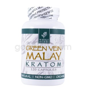 Whole Herbs Kratom - Green Vein Malay Capsules 120ct