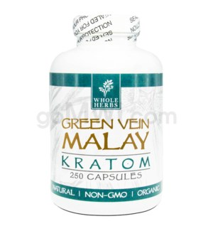 Whole Herbs Kratom - Green Vein Malay Capsules 250ct