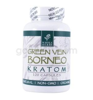 Whole Herbs Kratom - Green Vein Borneo Capsules 120ct