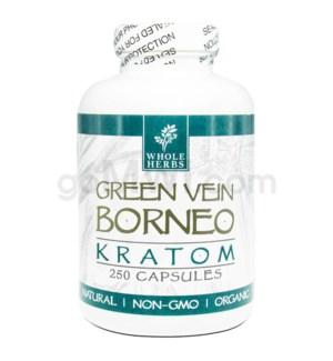 Whole Herbs Kratom - Green Vein Borneo Capsules 250ct