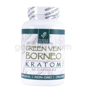 Whole Herbs Kratom - Green Vein Borneo Capsules 60ct