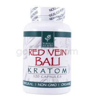 Whole Herbs Kratom - Red Vein Bali Capsules 120ct
