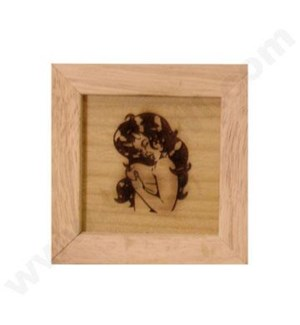 """DISC Pine wood box w/silk and mirror Naked lady 4""""x4"""""""