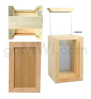"Pine wood box w/silk and mirror 4""x6"""