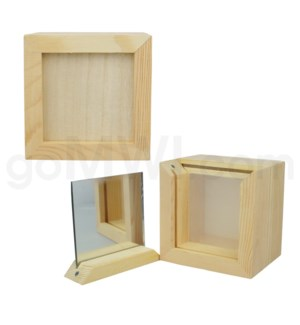 "DISC Pine wood box w/silk and mirror 4""x4"""