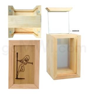 "Pine wood box w/silk and mirror Stripe 4""x6"""