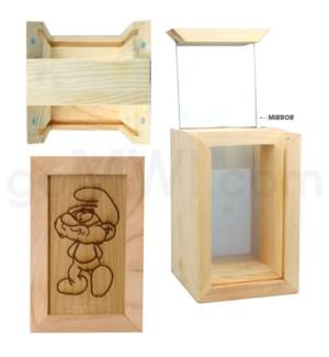 "Pine wood box w/silk and mirror smurf 4""x6"""
