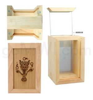 """Pine wood box w/silk and mirror Devil 4""""x6"""""""