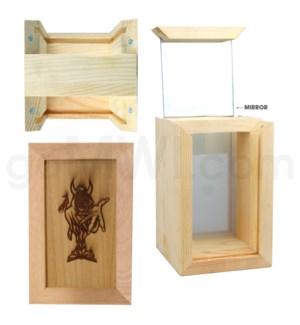 """Pine wood box   w/silk and mirror Devil 2. 4""""x6"""""""