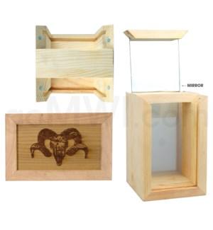 "Pine wood box w/silk and mirror ram 4""x6"""