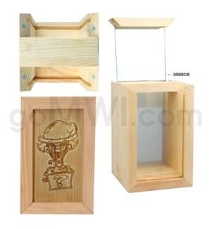 "Pine wood box w/silk and mirror Jack in the box 4""x6"""