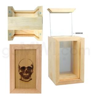 """Pine wood box w/silk and mirror Skull 4""""x6"""""""