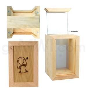 """Pine wood box  w/silk and mirror Mushroom 4""""x6"""""""