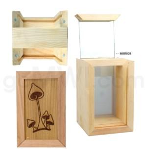 """Pine wood  box w/silk and mirror Mushroom2. 4""""x6"""""""