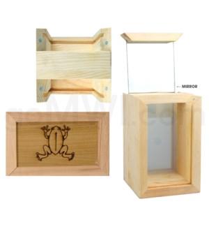 "Pine wood box w/silk and mirror Frog 4""x6"""