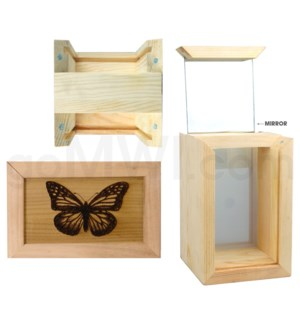 """Pine wood box w/silk and mirror butterfly 4""""x6"""""""