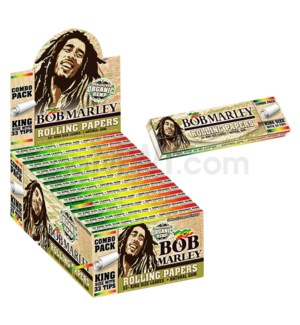 Bob Marley Unbleach Organic Hemp w/Tips King Size 33/pk 24/bx