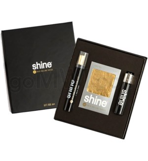 Shine 24K Gold 1 Cone & 2 Sheet Pack & Bic Lighter Gift Box