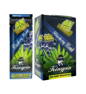 Kingpin Hemp Wraps - Blueberry Bomb 4pk 25ct/bx