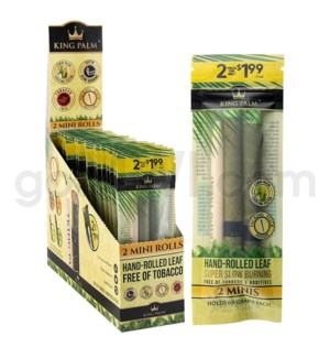 King Palm Herbal Organic Mini Pre-Rolled Wraps 2/pk 20ct/bx