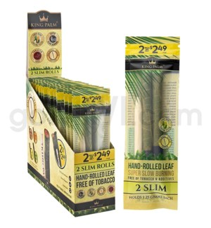 King Palm Herbal Organic Slim Pre-Rolled Wraps 2/pk 20ct/bx