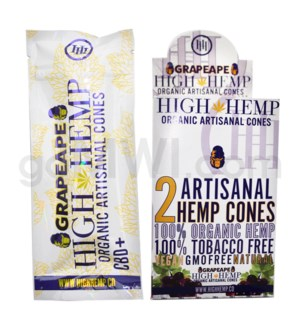 High Hemp Organic Cones - Grapeape 2pk 15ct/bx