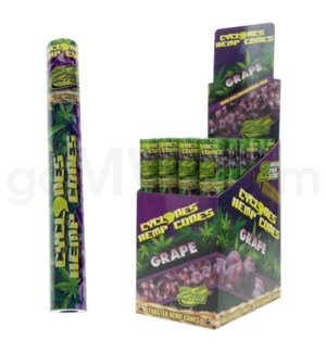 Cyclones Hemp Pre-Rolled Cones-Grape 2pk 24ct/bx