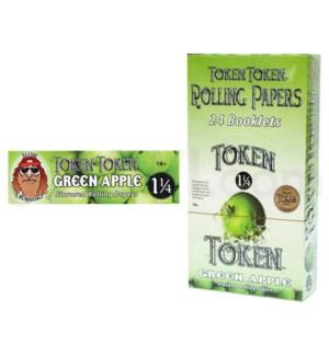 "DISCToke Token 1 1/4"" Rolling Paper Green Apple 50/pk 24ct/bx"