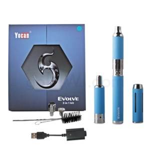 Yocan Evolve 3-in-1 650mah Vaporizer Starter Kit-Blue