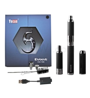 Yocan Evolve 3-in-1 650mah Vaporizer Starter Kit-Black