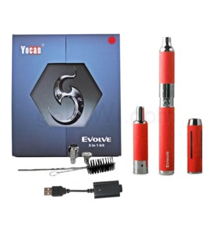 Yocan Evolve 3-in-1 650mah Vaporizer Starter Kit-Red