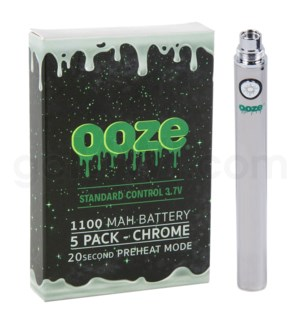 Ooze Standard Battery 1100mah/3.7v 5ct/display CHROME