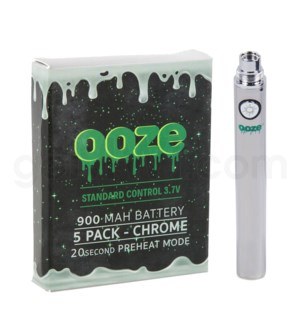Ooze Standard Battery 900mah/3.7v 5ct/display CHROME
