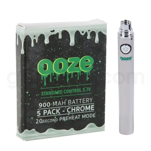 Ooze Standard Battery 900mah/3.7v 5ct/display CHROME