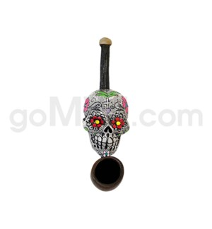 "3"" Mini Ecuadorian Polyresin Pipe - Sugar Skull White"