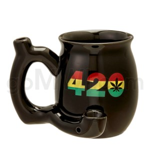 "Fashioncraft 4"" Ceramic Waterpipe Mug -420 Blk Rasta"
