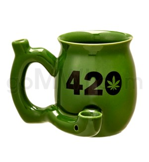 "Fashioncraft 4"" Ceramic Waterpipe Mug -420 Green"
