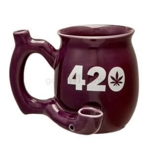 "Fashioncraft 4"" Ceramic Waterpipe Mug -420 Purple"