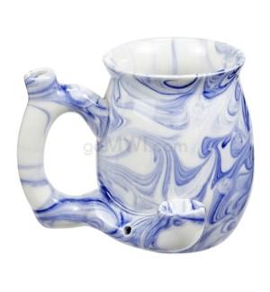 """Fashioncraft 4"""" Ceramic Waterpipe Mug - Marble Blue"""