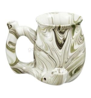 """Fashioncraft 4"""" Ceramic Waterpipe Mug - Marble Green"""