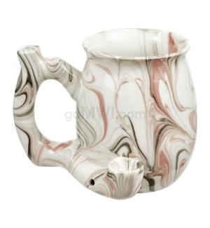 """Fashioncraft 4"""" Ceramic Waterpipe Mug - Marble Pink"""