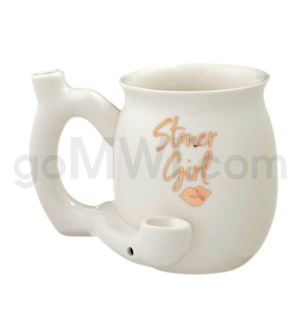 "Fashioncraft 4"" Ceramic Waterpipe Mug -Stoner Girl Wh"