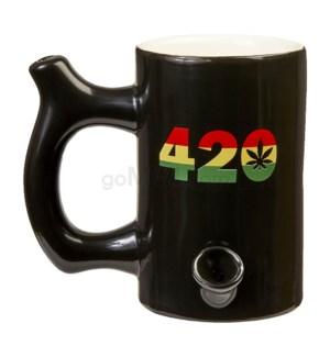 """Fashioncraft 5"""" Ceramic Waterpipe Mug -420 Blk Rasta"""