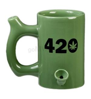 """Fashioncraft 5"""" Ceramic Waterpipe Mug -420 Green"""