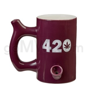 "Fashioncraft 5"" Ceramic Waterpipe Mug -420 Purple"