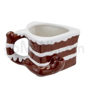 "Fashioncraft 4"" Ceramic Waterpipe Mug - Chocolate Layer Cake"
