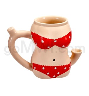 "Fashioncraft 4"" Ceramic Waterpipe Mug -Red Bikini"