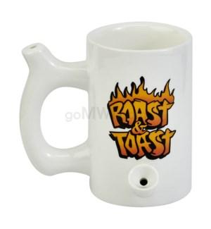 "Fashioncraft 5"" Ceramic Waterpipe Mug -Roast & Toast Wh Flame"